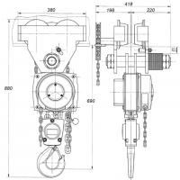 Цепная таль ручная передвижная грузоподъемностью 5 тонн ТРШБп-5,0-У1.1 ТУ 24.09.785-00